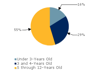 CCDF Average Monthly Percentage<br>of Children in Care By Age Group. Under 3-Years Old: 16%; 3 and 4-Years Old: 29%; 5 through 12-Years Old: 55%