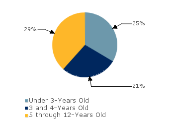 CCDF Average Monthly Percentage<br>of Children in Care By Age Group. Under 3-Years Old: 25%; 3 and 4-Years Old: 21%; 5 through 12-Years Old: 29%