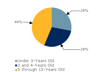 CCDF Average Monthly Percentage<br>of Children in Care By Age Group. Under 3-Years Old: 28%; 3 and 4-Years Old: 28%; 5 through 12-Years Old: 44%