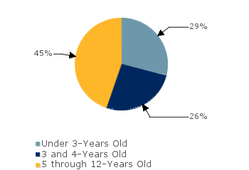 CCDF Average Monthly Percentage<br>of Children in Care By Age Group. Under 3-Years Old: 29%; 3 and 4-Years Old: 26%; 5 through 12-Years Old: 45%