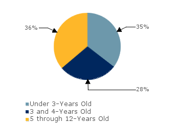 CCDF Average Monthly Percentage<br>of Children in Care By Age Group. Under 3-Years Old: 35%; 3 and 4-Years Old: 28%; 5 through 12-Years Old: 36%