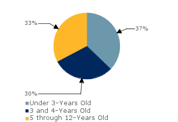 CCDF Average Monthly Percentage<br>of Children in Care By Age Group. Under 3-Years Old: 37%; 3 and 4-Years Old: 30%; 5 through 12-Years Old: 33%