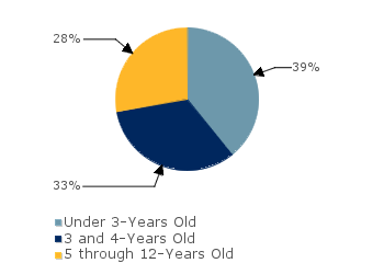 CCDF Average Monthly Percentage<br>of Children in Care By Age Group. Under 3-Years Old: 39%; 3 and 4-Years Old: 33%; 5 through 12-Years Old: 28%