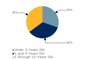 CCDF Average Monthly Percentage<br>of Children in Care By Age Group. Under 3-Years Old: 30%; 3 and 4-Years Old: 34%; 5 through 12-Years Old: 35%