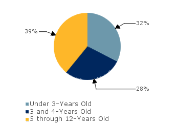 CCDF Average Monthly Percentage<br>of Children in Care By Age Group. Under 3-Years Old: 32%; 3 and 4-Years Old: 28%; 5 through 12-Years Old: 39%