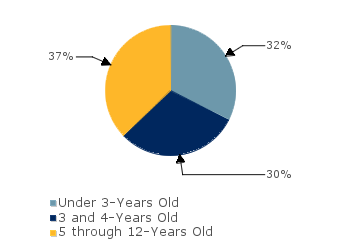 CCDF Average Monthly Percentage<br>of Children in Care By Age Group. Under 3-Years Old: 32%; 3 and 4-Years Old: 30%; 5 through 12-Years Old: 37%