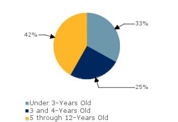 CCDF Average Monthly Percentage<br>of Children in Care By Age Group. Under 3-Years Old: 33%; 3 and 4-Years Old: 25%; 5 through 12-Years Old: 42%
