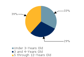 CCDF Average Monthly Percentage<br>of Children in Care By Age Group. Under 3-Years Old: 33%; 3 and 4-Years Old: 29%; 5 through 12-Years Old: 39%