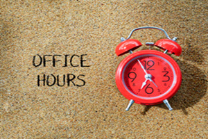 alarm clock with words office hours